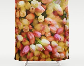 Tulips Fabric Shower Curtain, orange,yellow, bathroom decor, flowers,nature, floral shower curtain