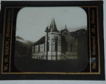Vintage W.H. Drew, Stereopticons Magic Lantern Slide of Church