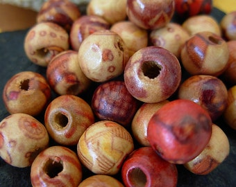 8mm Assorted Art Patterned Wood Round Beads (50)