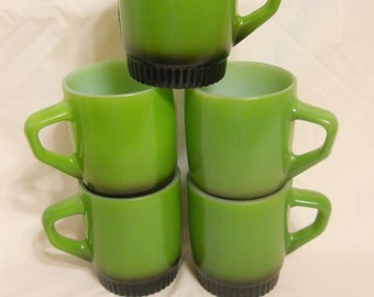 Mid Century Green and Black Coffee Mugs stacking Fire King Lot of 5