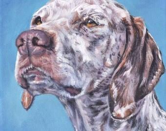 """Braque du Bourbonnais dog portrait art CANVAS print of LAShepard painting 8x8"""" French Pointer"""