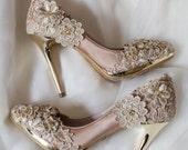 SALE!  Vintage Flower Lace Wedding Shoes with Champagne Gold Applique Crochet Bridal Satin Pumps Shoes