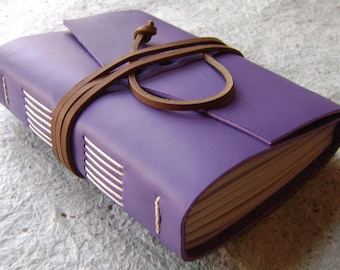 "Leather journal, 312 pages, approx. 4""x 6"", lavender, handmade journal by Dancing Grey Studio on Etsy(1709)"