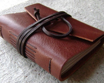 """Small Leather Journal, 3.5""""x 4.5"""", rustic brown, handmade journal by Dancing Grey(1731)"""