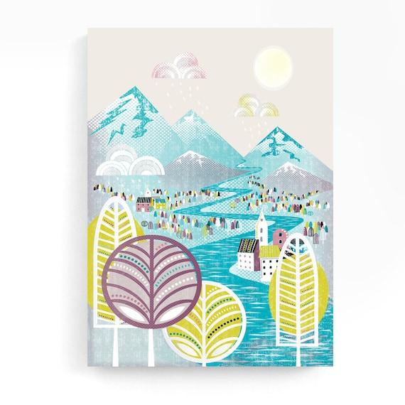 Fairy Tales Nursery Canvas Wall Art, Framed Print, Textile, Landscape Print, ready to hang, happy bright, nursery art, gift idea, MCFT1