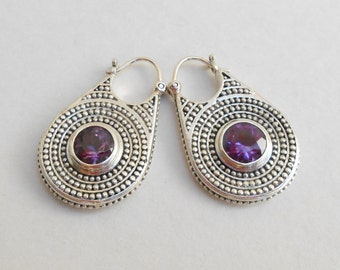 Solid Sterling Silver Amethyst gemstone hoop Earrings / 1.25 inch long / silver 925 / Bali handmade jewelry / (#684E)