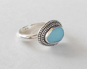 Silver sterling doublet Opal Ring /  unique item - only size 6 /  silver  925 / Bali handmade jewelry / (#707m12)