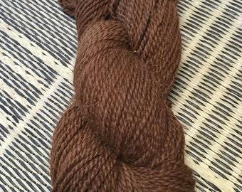 "Alpaca Yarn, Two Ply, Worsted Weight, Undyed, Medium and Dark Fawn Blend, ""Dark Chocolate"""