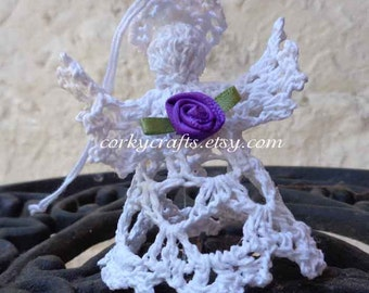 Crochet angel, Christmas ornament, small tree topper, bunco gift, bible school