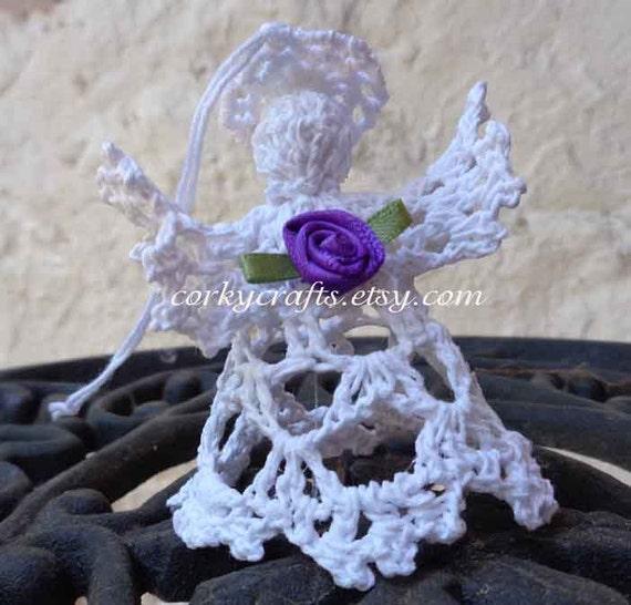 Small Angel Christmas Tree Topper: Crochet Angel Christmas Ornament Small Tree Topper By