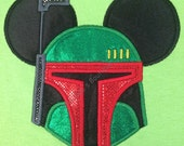 STAR WARS Movie Mr. Mouse ears Boba Fett appliqued on a unisex short sleeved t-shirt children and adult sizes