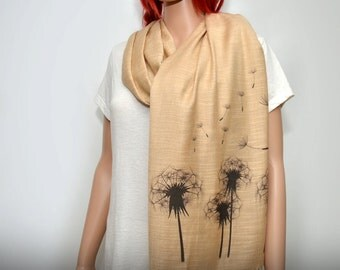 Dandelion scarf, dandelions, cream beige scarf, flower scarf, long soft scarf/shawl