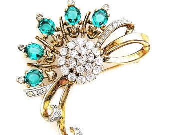 Trifari Sterling Pat. Pend Emerald and Clear Brooch