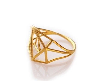 Valentines Day Sale Geometric Ring, Architecture Structure Gold Ring, Minimal Jewelry, Brass Geometric Ring, Brass Jewelry, Geometric Jewelr