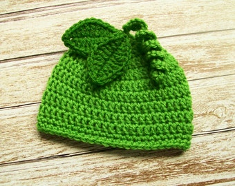 Green Pea Baby Hat Beanie Crochet with Leaves and Spiral Stem Boy Girl Gender Neutral Newborn 3 6 9 12 18 24 month sizes Photo Prop