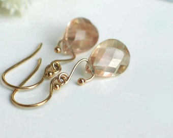 Oregon Sunstone Earrings | Pink Champagne Schiller Pear Briolettes | 14k Gold Filled Dangles | Swan Shape | Nature Stones | Ready to Ship
