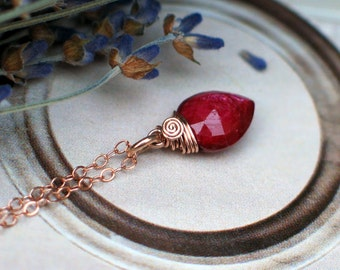 Rose Gold Ruby Heart Necklace | Red Ruby Upside Down Pear Briolette Wire Wrapped in 14K Rose Gold Fill | July Birthstone | Ready to Ship