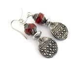 Checker Texture Rustic Earrings - OOAK - Gypsy Earrings - Pewter Earrings - Boho Chic - Artisan Earrings - Boho Earrings -Hippie Chic -AE102