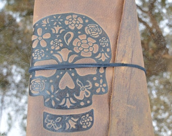 Sugar Skull (Dia de los Muertos or Day of the Dead) Handmade Leather Journal Free Personalization