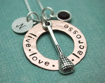 Lacrosse Charm Copper Washer and Sterling Silver Personalized Hand Stamped Necklace