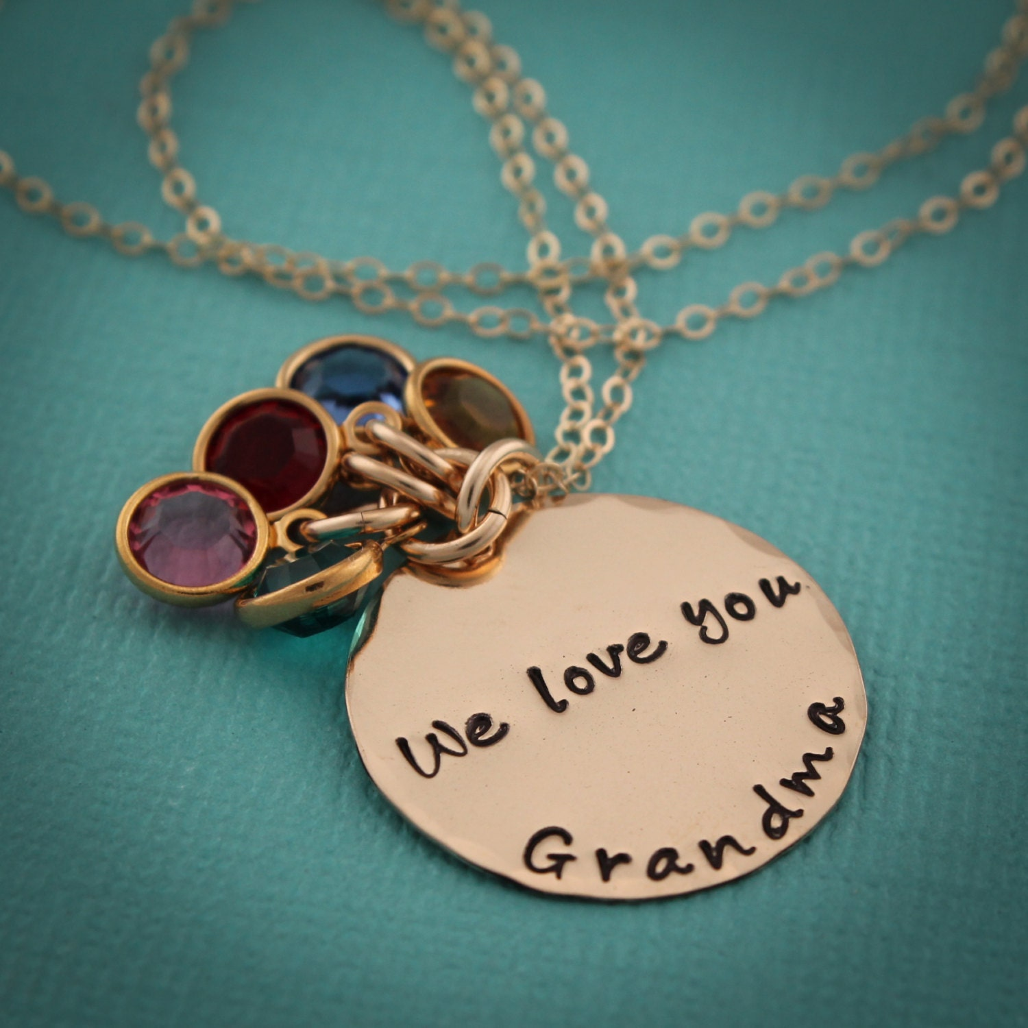 Gold grandma necklace with birthstones grandmother necklace in for Grandmother jewelry you can add to