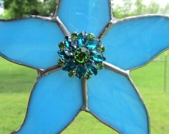 Stained Glass Blue Starfish Suncatcher, Star, Star Mobiles, Star Ornaments