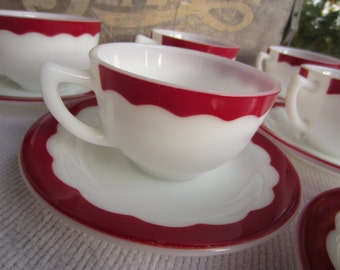 Vintage 1950's Cup Saucer Milk Glass White Red Scalloped Design Corning Dinnerware