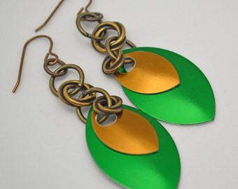 Modern Metal Earrings. Two Colors of Metal Scales w/ Tierra Cast Love Knots w/ matching ear wires One of a Kind. Funky Fun Handmade Jewelry.