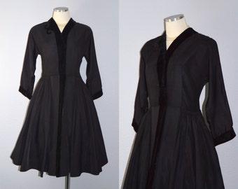 ON HOLD / Not for Sale / Mademoiselle Saks Fifth Avenue dress / vintage 1940s dress / 40s black gabardine velvet trim dress