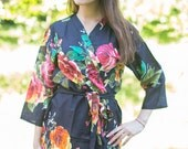 Black Large Floral Blossom Patterned Robe | Kimono Style getting ready robe for wedding day, bridal shower gift, dressing gown