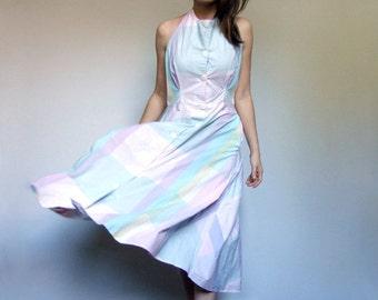 Pastel Dress Pockets Vintage 80s Button Up Halter Sundress Pink Mint Yellow Purple Casual Cotton Summer Dress - Medium to Large M L