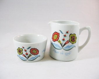 Berggren Cream and Sugar Set, Colorful Mid Century Swedish Design