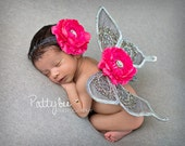 SILVER LUXE Sequin Hot Pink Butterfly Wings and Headband Photo Prop First Photos