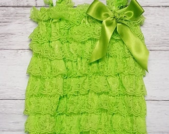 Lace Lime Green Ruffle Petti Romper, 1st Birthday Outfit, Cake Smash with Matching Headband