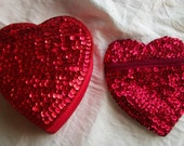 Treasury Vintage Valentines Heart Box and Coinpurse Sequined Both Very Cute