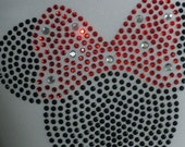 """5"""" red Minnie Mouse iron on rhinestone transfer for Disney t shirt WHOLESALE AVAILABLE"""