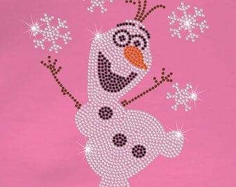 "9.9"" tall Frozen OLAF bling iron on rhinestone TRANSFER for Disney t-shirt"