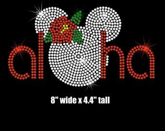 "8.4"" Minnie Mouse Aloha Hawaii iron on rhinestone transfer"