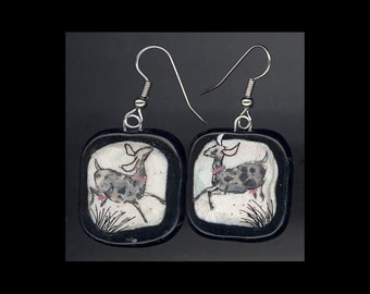 Dairy Goat Jewelry: Happy Day Nubian Earrings. Original Ink Drawing on Polymer Clay. White, Pink, Silver Grey, Black 4142