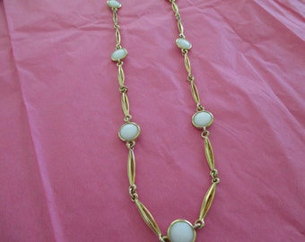 Vintage costume jewelry  / CLEARING OUT SALE ,white and gold necklace