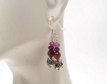 Pink Sapphire with Sterling Silver Celtic Beaded Earrings, September Birthstone Earrings, Pink Sapphire Earrings, Faceted Sapphire