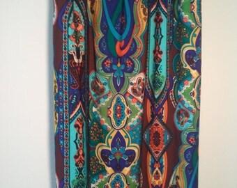 FLASH SALE Paisley polyester sundress dress beach summer hippie boho grunge 70s halter top medium lollapalooza
