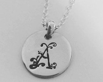 Personalised monogram stamped necklace with sterling silver stamped charm, add on charm option, Perth Western Australia