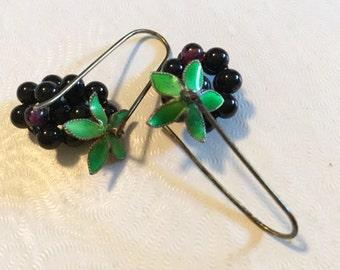 Gorgeous Vintage Pierced Earrings Grape Cluster Bead with Enamel Leaves