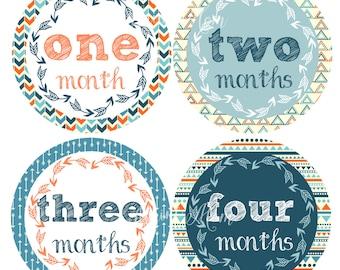 FREE GIFT, Baby Boy Month Stickers, Baby Boy Monthly Stickers, Milestone Stickers, Arrows, Navy, Blue, Orange Tribal Nursery Decor, Arrow