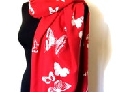 SALE PASHMINA red butterlies