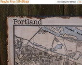 SUMMER SALE VINTAGE Portland Map - 30x36 -Salvaged Wood - Handmade - Home Decor - RuPiper Designs Original
