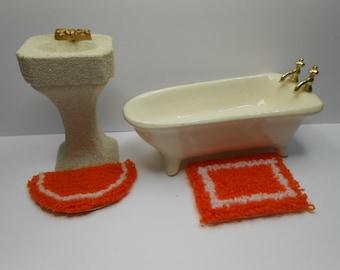 dollhouse miniature plush rug orange set