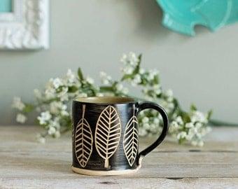 Ceramic Mug / Sgraffito / Wasabi Green