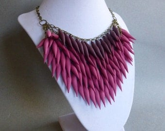Red Burgundy Rose Polymer Clay Spike Ombre Statement Necklace // Gradient // Edgy
